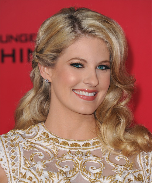 Stephanie Leigh Schlund Long Wavy Formal Hairstyle - Light Blonde (Golden) Hair Color - side view