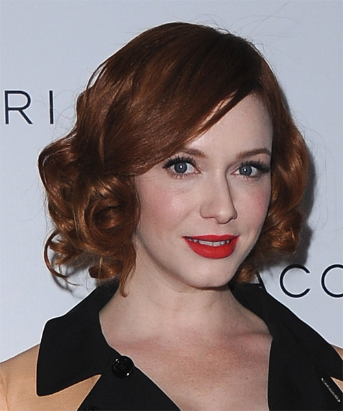 Christina Hendricks Short Curly Hairstyle - Dark Red (Copper) - side view 1