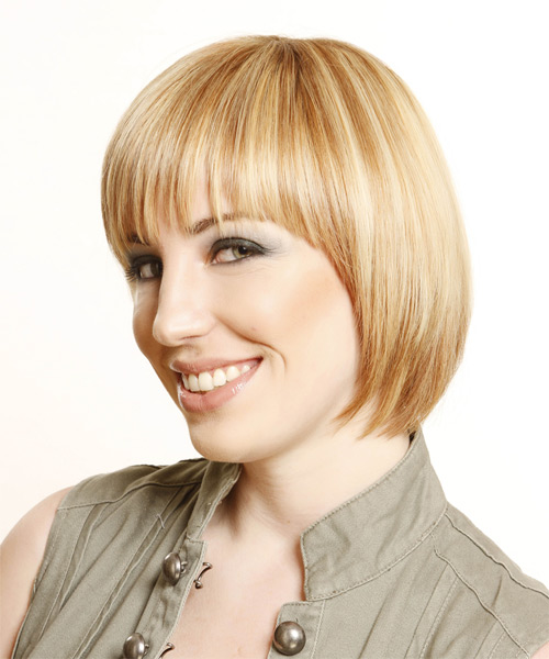 Short Straight Formal Bob Hairstyle with Layered Bangs - Medium Blonde (Honey) Hair Color - side view