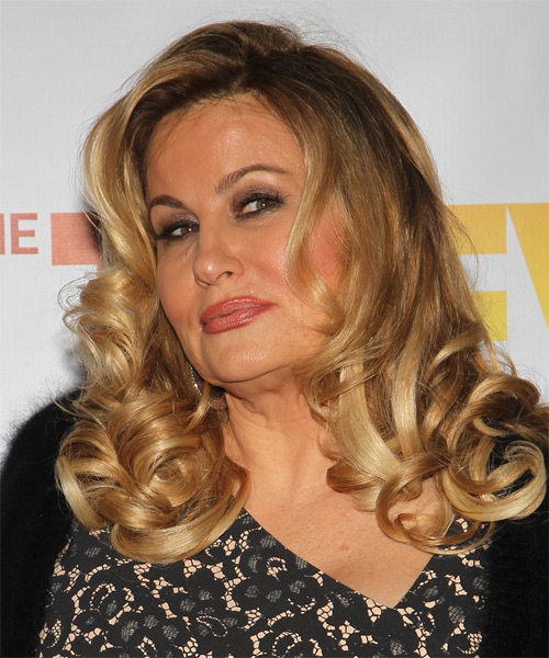 Jennifer Coolidge Long Curly Formal  - Dark Blonde - side view