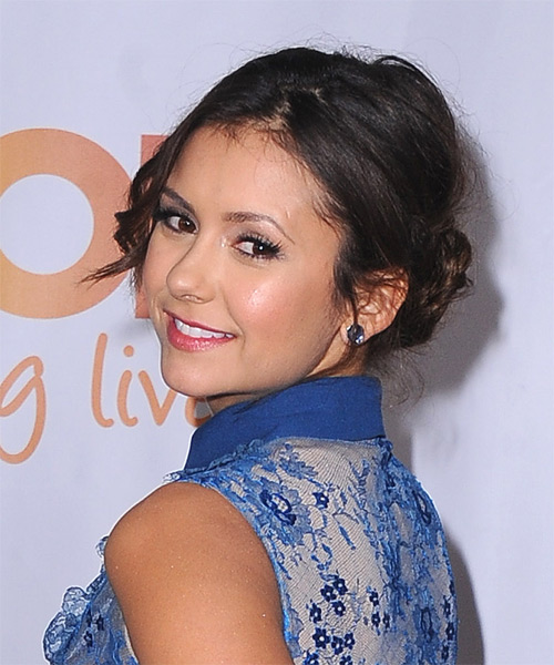 Nina Dobrev Curly Casual Updo Hairstyle - Dark Brunette Hair Color - side view