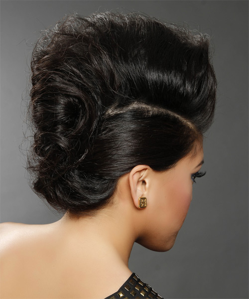 Formal Curly Updo Hairstyle - Black - side view