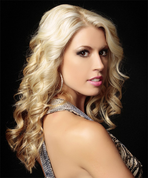 Long Curly Formal Hairstyle - Light Blonde - side view 1