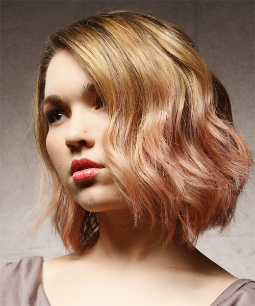 Medium Wavy Casual Hairstyle - Dark Blonde (Strawberry) - side view 1