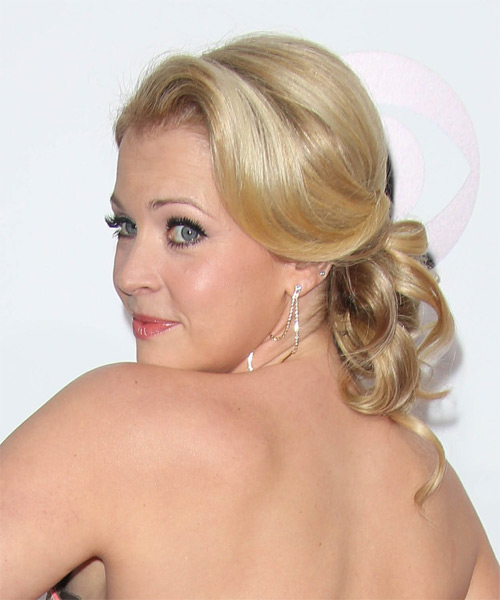 Melissa Joan Hart Curly Formal Updo Hairstyle - Medium Blonde (Golden) Hair Color - side view