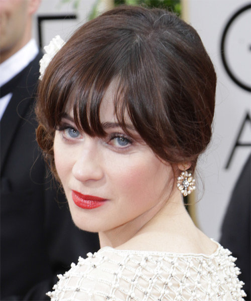 Zooey Deschanel Curly Formal Updo Hairstyle with Blunt Cut Bangs - Dark Brunette (Chocolate) Hair Color - side view