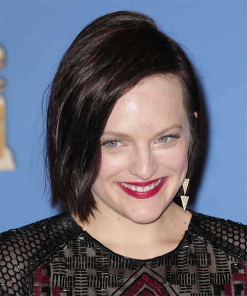 Elisabeth Moss Short Straight Bob Hairstyle - Dark Brunette (Chocolate) - side view 1