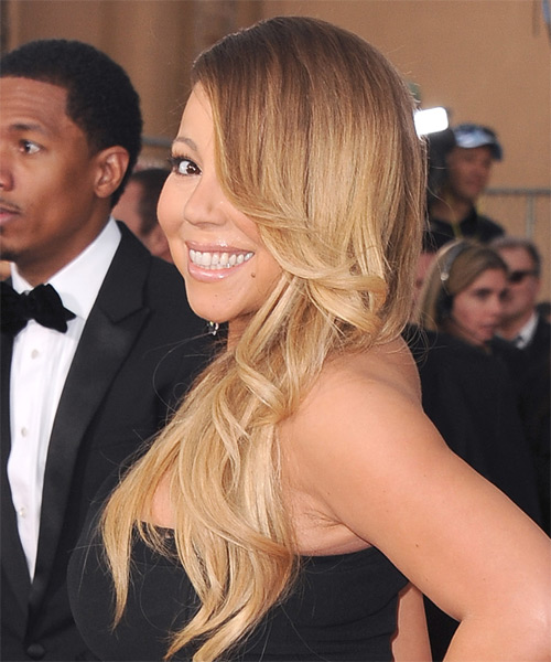 Mariah Carey Long Straight Hairstyle - Medium Blonde - side view