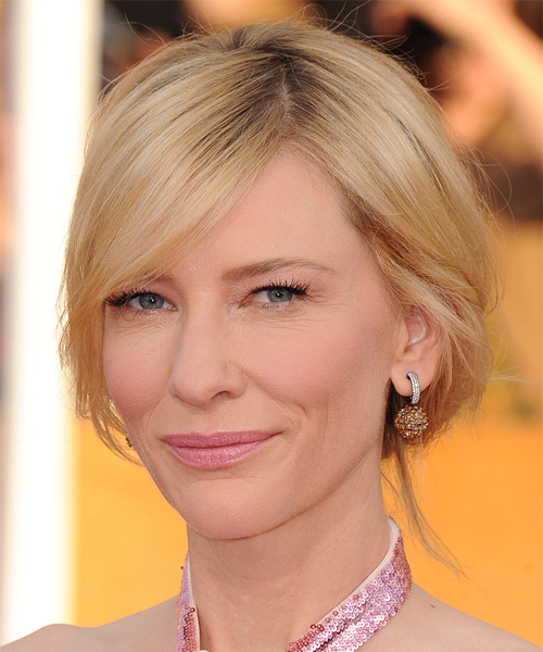 Cate Blanchett Straight Casual Updo Hairstyle - Light Blonde (Golden) Hair Color - side view