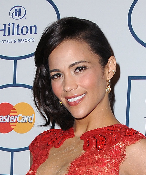 Paula Patton Straight Formal Half Up Hairstyle - Dark Brunette Hair Color - side view