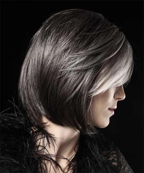 Medium Straight Formal Bob Hairstyle - Dark Grey - side view
