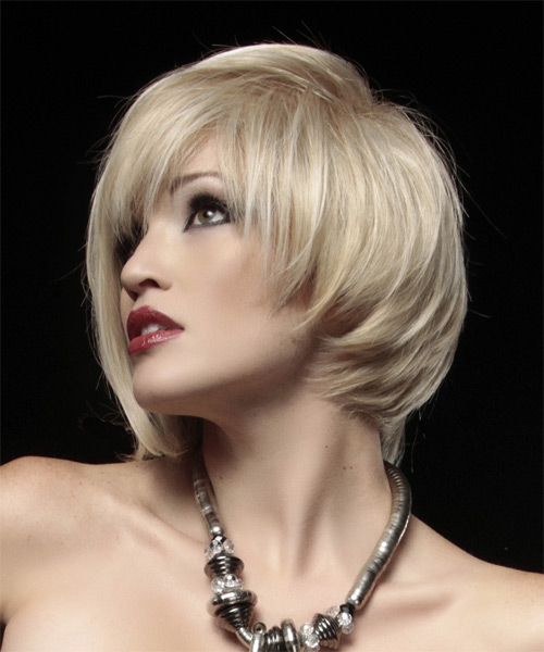 Short Straight Alternative Asymmetrical Hairstyle - Light Blonde (Strawberry) Hair Color - side view