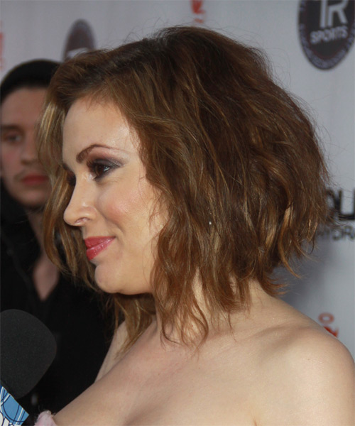 Alyssa Milano Medium Wavy Hairstyle - Medium Blonde (Copper) - side view