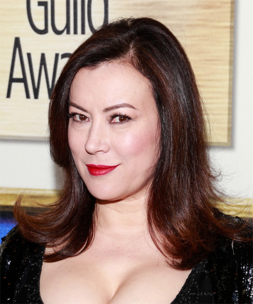 Jennifer Tilly Medium Straight Hairstyle - Dark Brunette (Plum) - side view