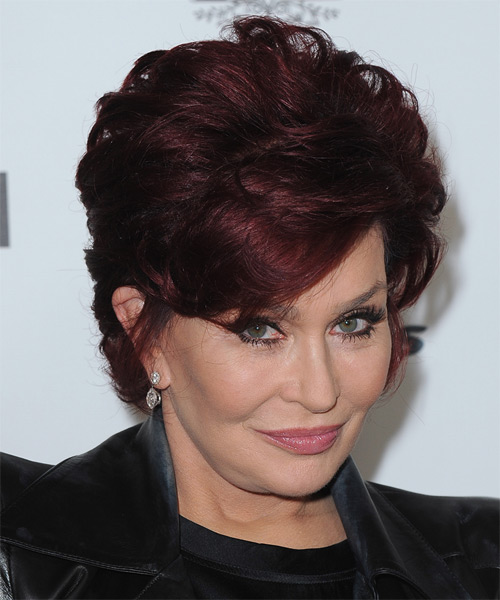 Sharon Osbourne Short Straight Hairstyle - Dark Red (Burgundy) - side view 1