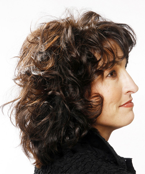 Medium Curly Casual  with Layered Bangs - Black - side view