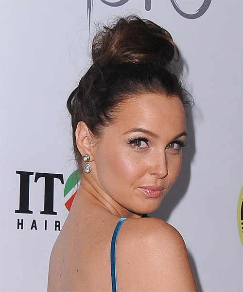 Camilla Luddington Formal Straight Updo Hairstyle - Dark Brunette - side view