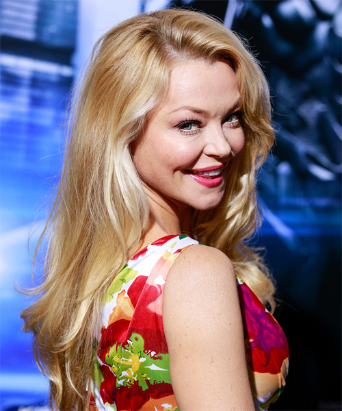Charlotte Ross Long Wavy Formal Hairstyle - Light Blonde (Honey) Hair Color - side view