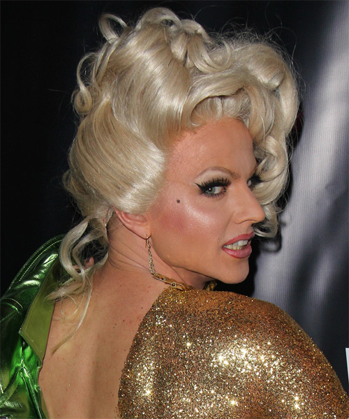 Courtney Act Curly Formal Updo Hairstyle - Light Blonde (Platinum) Hair Color - side view