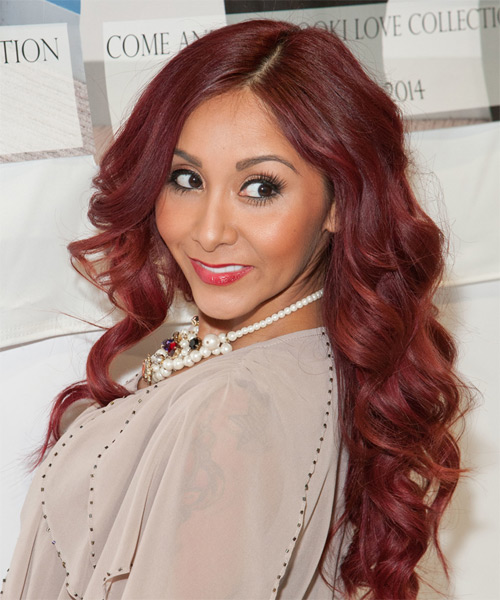 Nicole Snooki Polizzi Long Wavy Hairstyle - Medium Red - side view