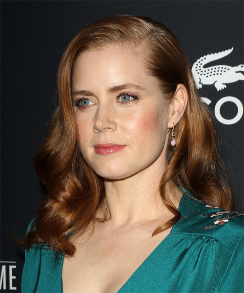 Amy Adams Long Wavy Formal Hairstyle - Medium Brunette (Chestnut) Hair Color - side view