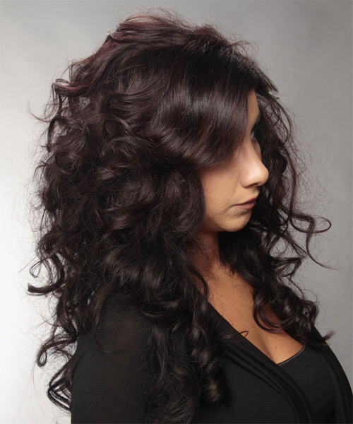 Long Wavy Formal Hairstyle with Side Swept Bangs - Dark Brunette (Burgundy) Hair Color - side view