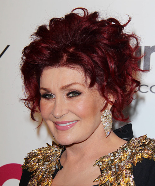 Sharon Osbourne Formal Curly Updo Hairstyle - Medium Red - side view 1