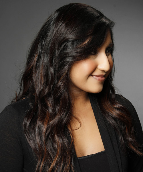 Long Wavy Casual  with Side Swept Bangs - side view