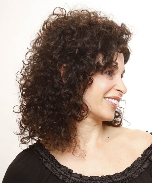 Medium Curly Casual  - Medium Brunette - side view