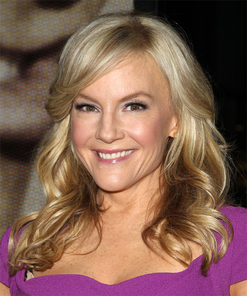 Rachael Harris Long Wavy Formal Hairstyle with Side Swept Bangs - Medium Blonde Hair Color - side view