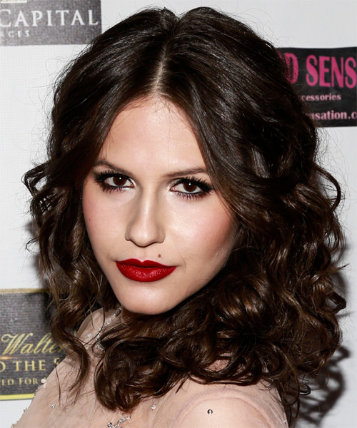 Erin Sanders Medium Curly Formal  - Dark Brunette (Mocha) - side view