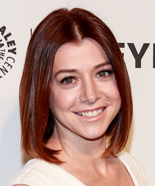 Alyson Hannigan Medium Straight Casual Bob Hairstyle - Medium Red Hair Color - side view