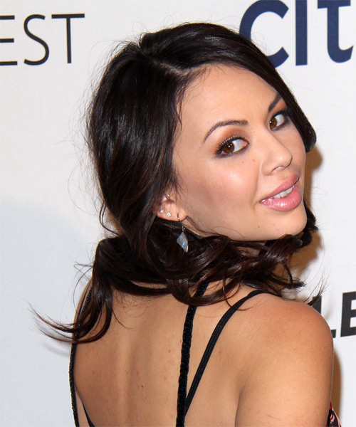 Janel Parrish Long Wavy Formal Hairstyle - Dark Brunette (Mocha) Hair Color - side view
