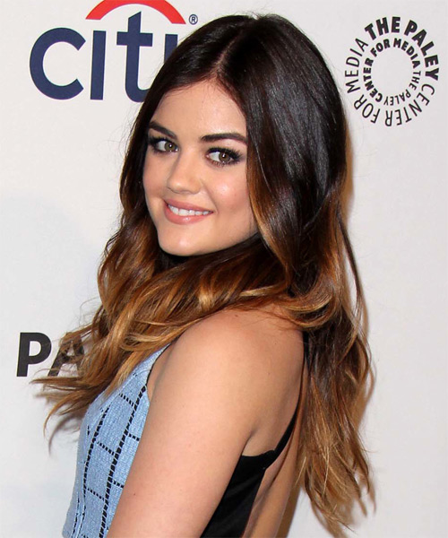 Lucy Hale Long Wavy Casual Hairstyle - Dark Brunette (Auburn) Hair Color - side view