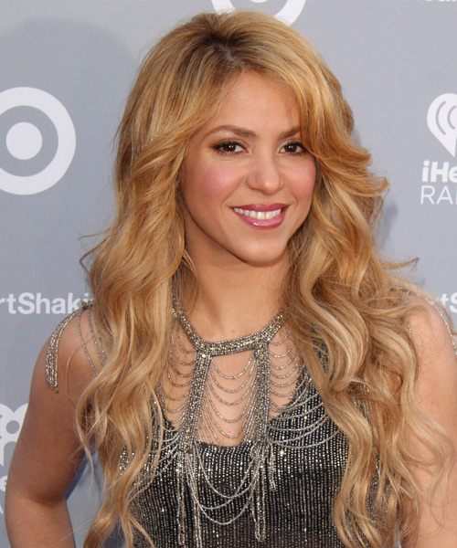 Shakira Long Wavy Casual Hairstyle - Medium Blonde (Golden) Hair Color - side view