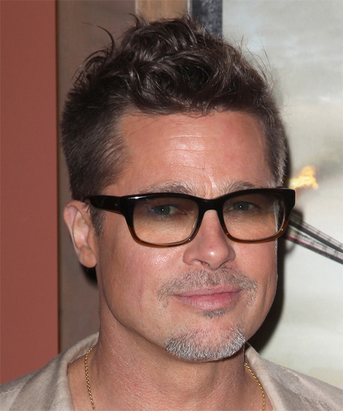 Brad Pitt Short Wavy Casual Hairstyle - Medium Brunette Hair Color - side view