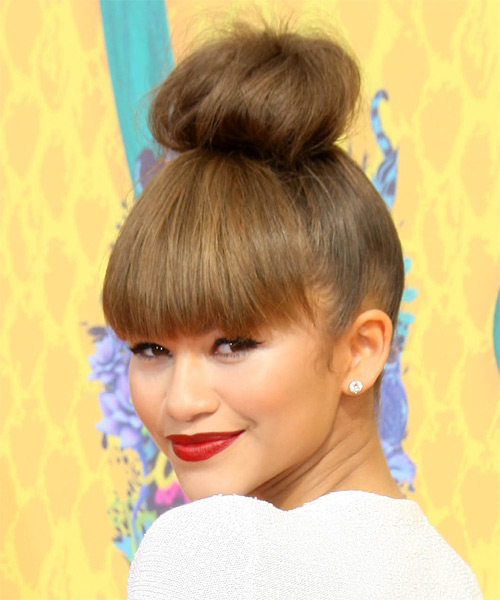 Zendaya Coleman Straight Casual Updo Hairstyle with Razor Cut Bangs - Medium Brunette (Ash) Hair Color - side view