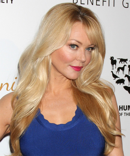 Charlotte Ross Long Straight Formal Hairstyle with Side Swept Bangs - Medium Blonde (Golden) Hair Color - side view