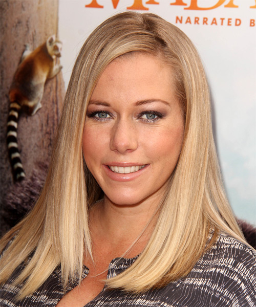 Kendra Wilkinson Long Straight Hairstyle - Medium Blonde (Honey) - side view