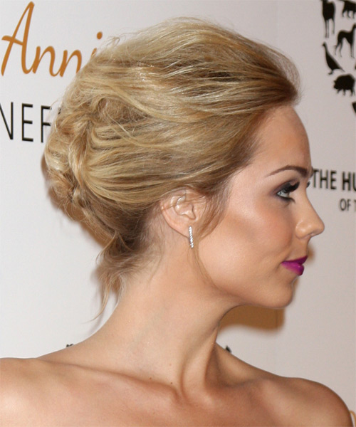 Laura Vandervoort Formal Straight Updo Hairstyle - Dark Blonde - side view 1