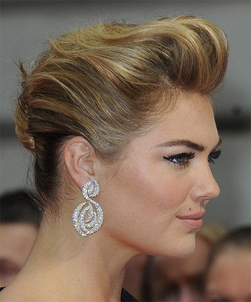 Kate Upton Formal Straight Updo Hairstyle - Dark Blonde (Golden) - side view 1
