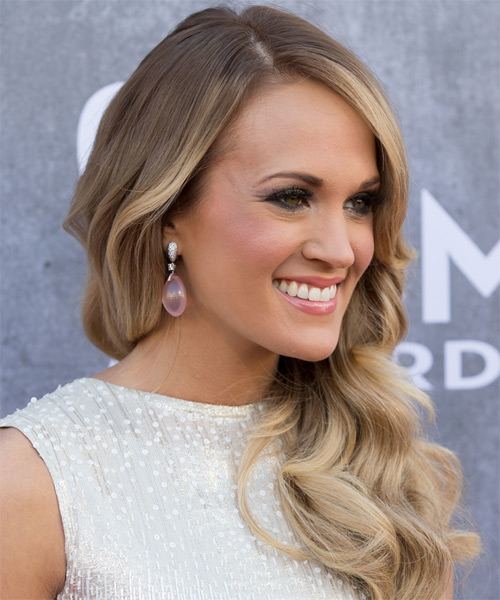 Carrie Underwood Long Wavy Formal Hairstyle - Medium Blonde Hair Color - side view