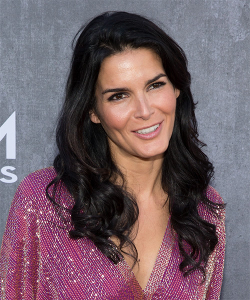 Angie Harmon Long Wavy Casual  - Black - side view