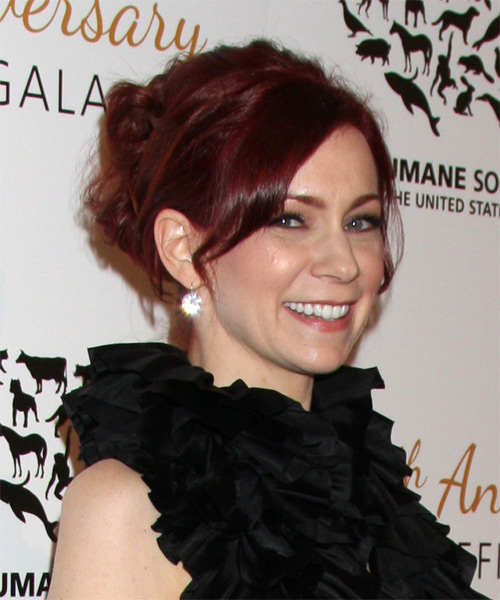 Carrie Preston Casual Straight Updo Hairstyle - Medium Red - side view 1