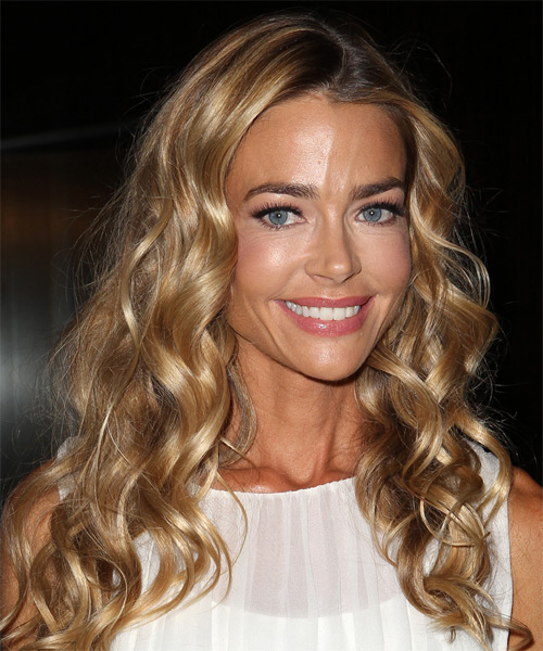 Denise Richards Long Curly Hairstyle - Medium Blonde (Golden) - side view