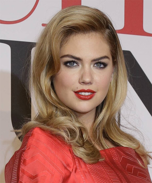 Kate Upton Long Straight Hairstyle - Medium Blonde (Honey) - side view