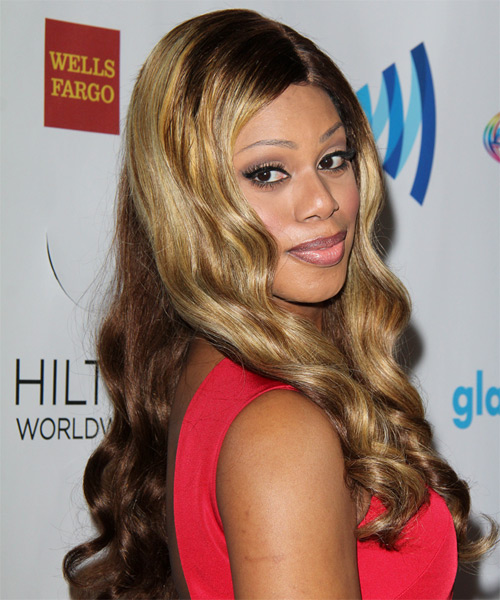 Laverne Cox Long Wavy Hairstyle - Dark Blonde - side view