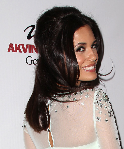 Torrey DeVitto Half Up Long Straight Casual Half Up Hairstyle - Dark Brunette Hair Color - side view