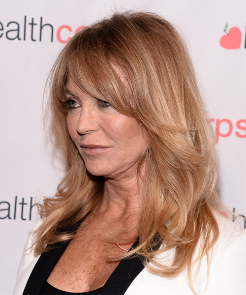 Goldie Hawn Long Straight Casual Hairstyle with Layered Bangs - Medium Blonde (Copper) Hair Color - side view