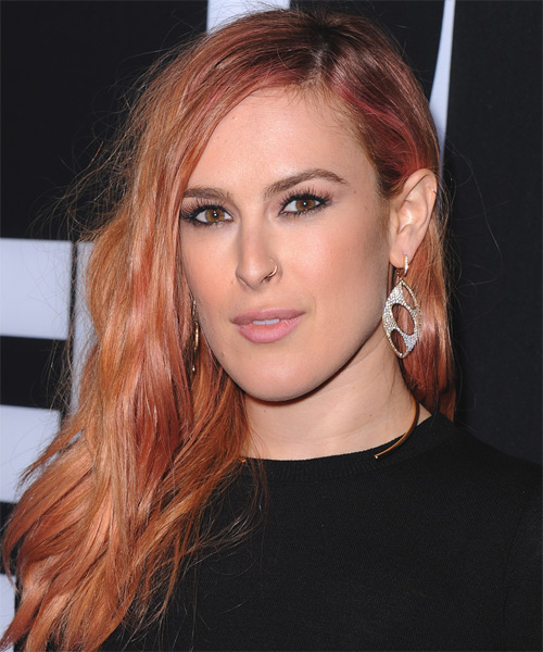Rumer Willis Long Straight Hairstyle - Medium Red (Copper) - side view 1